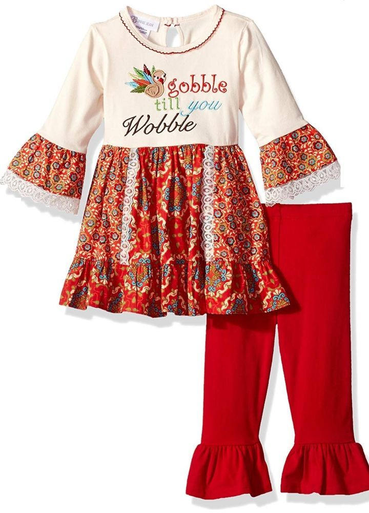 c5445639a Bonnie Jean Girls Gobble Wobble Fall Thanksgiving Dress Leggings ...