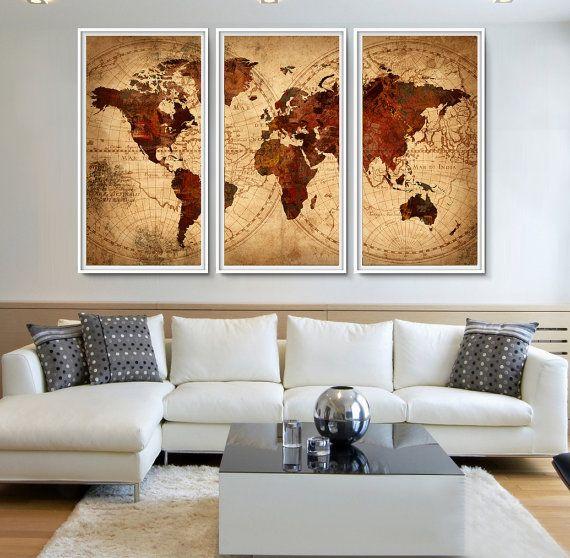 Fabulous Karte antike Weltkarte World Map Poster Welt Karte Wandkunst