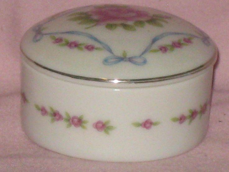 VINTAGE (?) Antique Rose Trinket Box Porcelain Lefton China 02984
