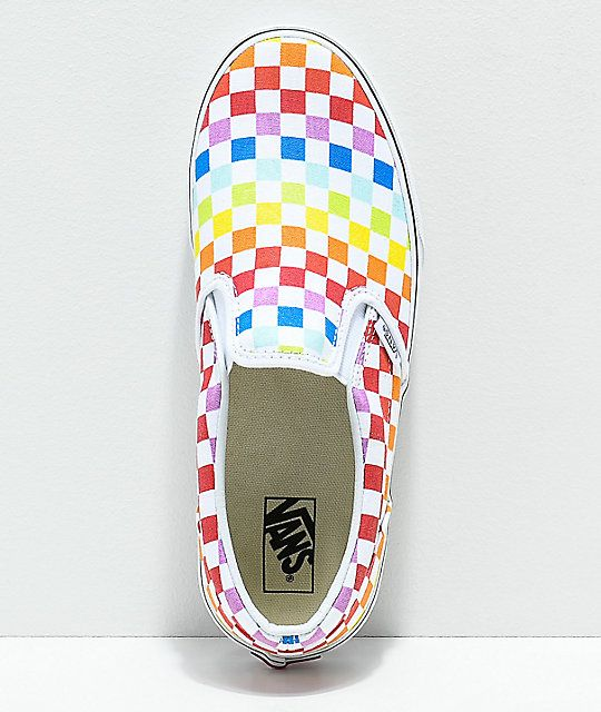 b925cd4f2d9 Vans Slip-On Rainbow Checkerboard Skate Shoes in 2019