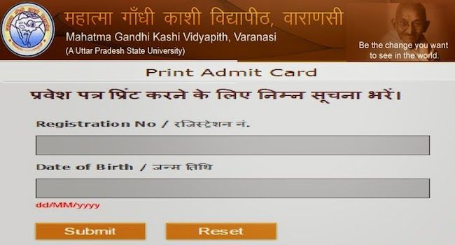 Mgkvp Admit Card 2019 Ba Bsc Bcom Download Kashi Vidyapeeth Admit