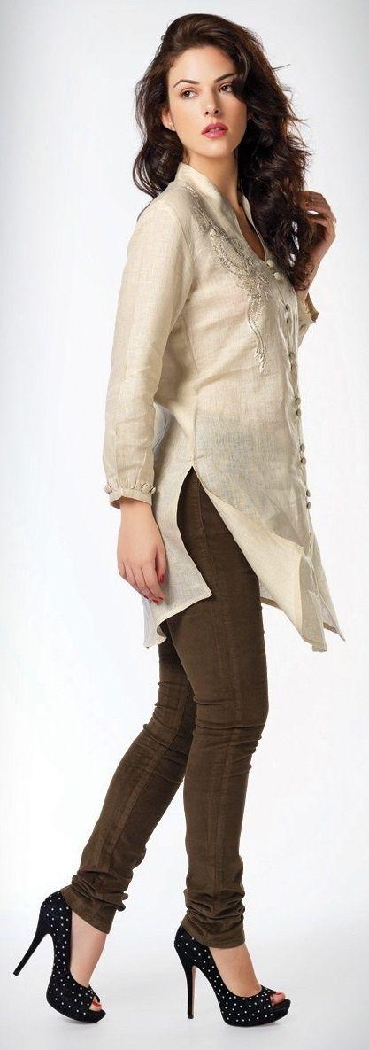 Fabulous off white cotton kurti
