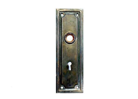 Door Plate, Vintage, 1920s, Antique Door Plate, Door Knob Plate, Escutcheon