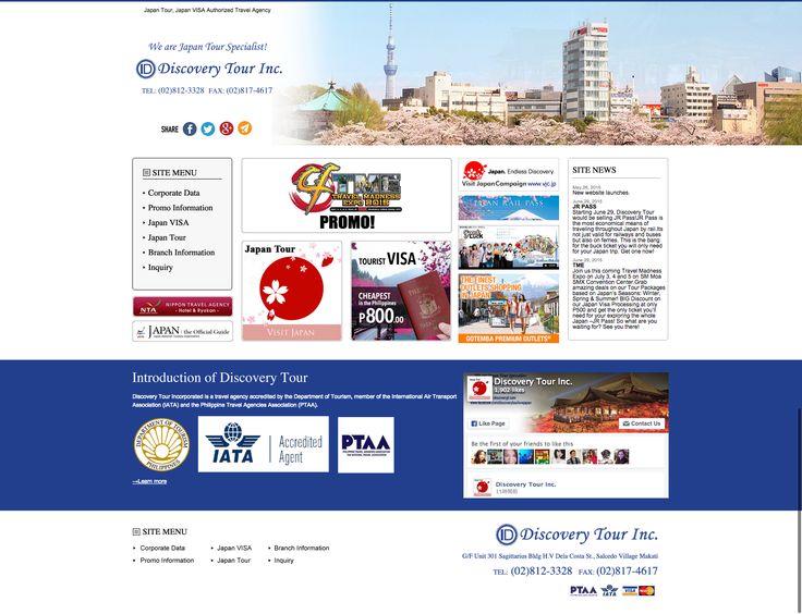 【WEBサイト】 Discovery Tour Inc.社のフィリピン人向けサイトを制作させていただきました。  Discovery Tour社は、Manila Main Officeを中心にCebu Branch、 Davao Branchと展開している旅行代理店です。親切、丁寧な対応で非常に魅力のある会社様ですので、旅行にお困りの方はぜひ問い合わせしてください。