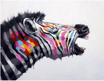 WAILING ZEBRA - HANDMADE OIL PAINTING ON CANVAS - WALL ART