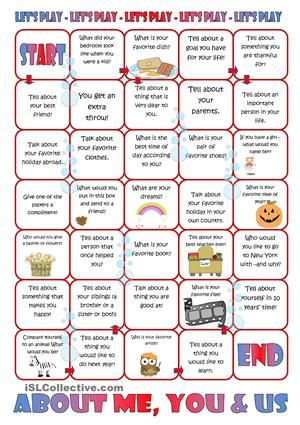 A board game with questions to be answered the players. You will learn a little more about yourself and your co-players. - ESL worksheets