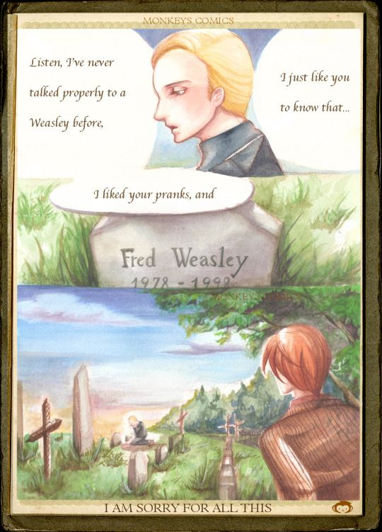 It was Battle of Hogwarts days ago. There are loads of memes. I came across with one about Draco attended Fred's funeral, which I feel the most. So I decided to visualise it. By the way, I am really NOT OK with Fred's death. WHY!!!!!!?