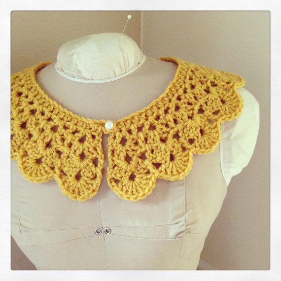 Crochet collar, Peter Pan collar, Detachable crochet collar, Mustard, NEW