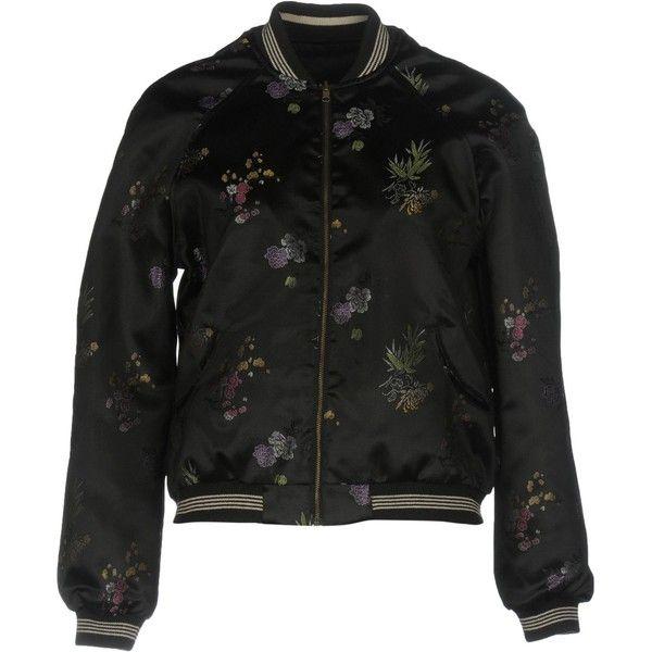 Bellerose Jacket ($85) ❤ liked on Polyvore featuring outerwear, jackets, black, flower print jacket, multi pocket jacket, single breasted jacket, floral print jackets and bomber style jacket