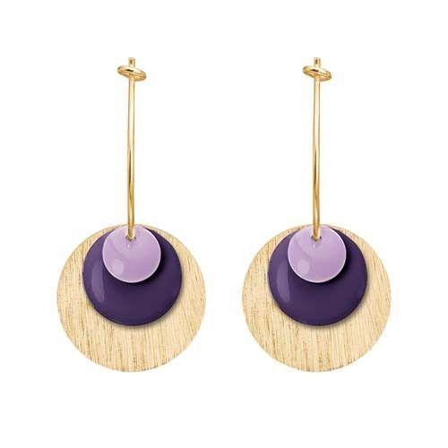 ENAMEL Copenhagen drops earring coin, lavender, eggplant, gold
