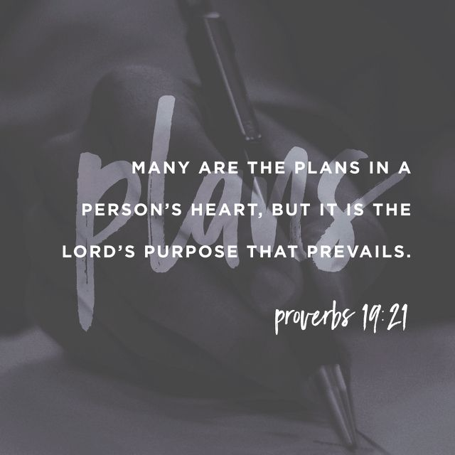 """Listen to advice and accept instruction, that you may gain wisdom in the future. Many are the plans in the mind of a man, but it is the purpose of the Lord that will stand."" ‭‭Proverbs‬ ‭19:20-21‬ ‭ESV‬‬ http://bible.com/59/pro.19.20-21.esv"