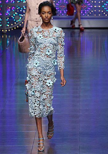 Dolce & Gabbana: Abito pizzo maniche lunghe