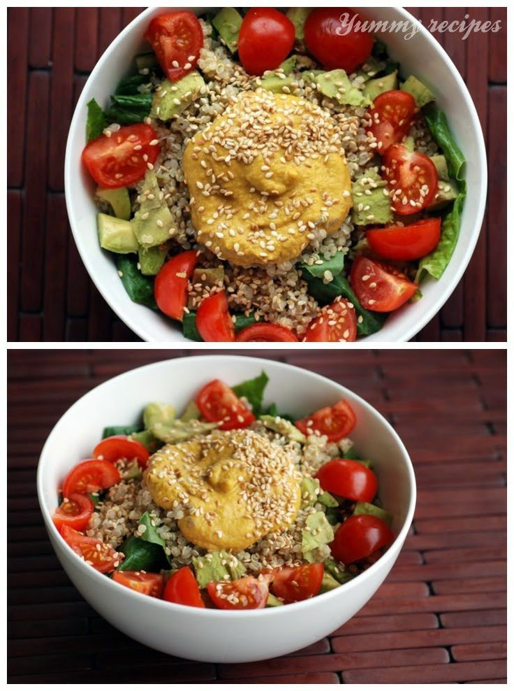 Tomato Avocado Quinoa Salad with a Carrot Ginger Sesame Dressing