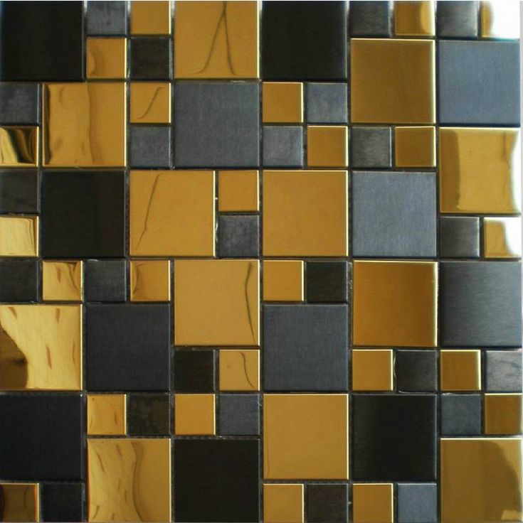 Gold mix black metal mosaic tile SMMT037