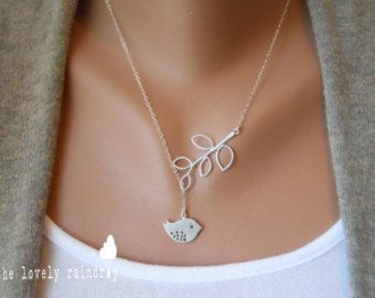 Detailed Bird and Branch Lariat  Silver Jewelry  Wedding