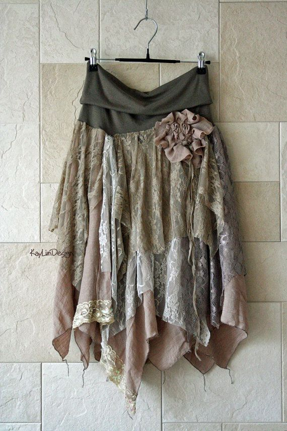 One of a kind bohemian hobo-chic tattered skirt / lace door KayLim