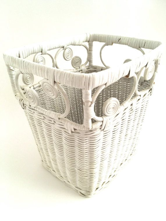 Vintage white wicker paper basket wastepaper bin curlicues retro home decor 1970s mod girls room Retro home decor pinterest