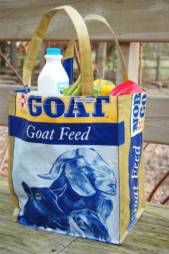 Turning Animal feed bags into shopping bags is wonderful! I have several that I use every time I go shopping, and they are strong as all heck!