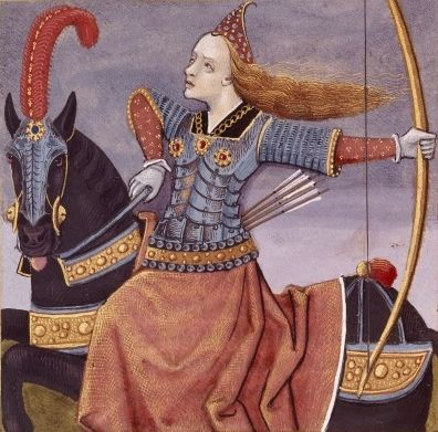 "Boccaccio's Famous Women, 15th Century. Penthesilea, Amazon Queen, shown in armour.  ""Furious Penthesilea leads a battleline of Amazons with crescent shields..."""