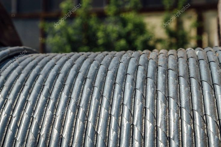 Coiled steel steel wire rope closeup stock photo