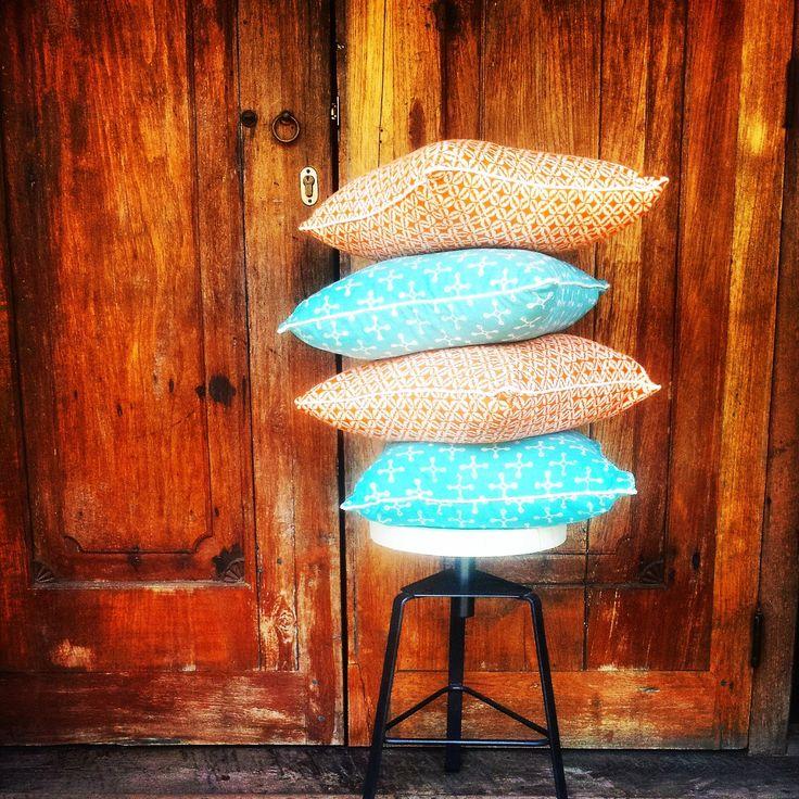 Blue and Orange Cushions.