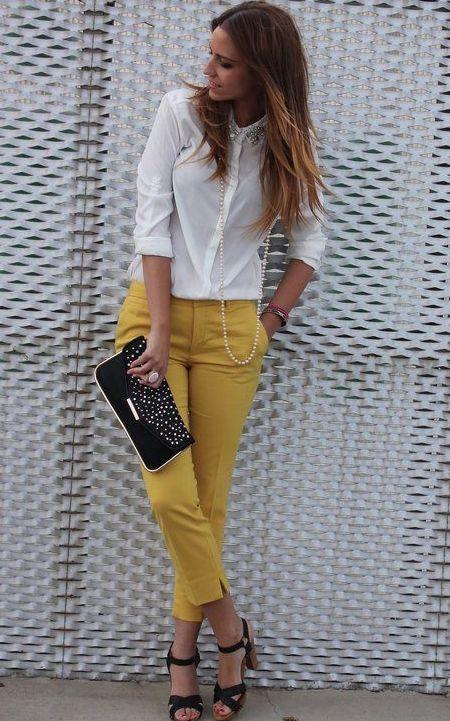 combinar pantalón amarillo