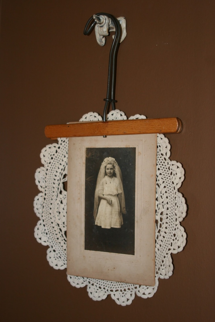 Repurposed vintage old wooden pants or skirt hanger, add crochet doilie and vintage photograph for wall display, cottage style home decor; upcycle, recycle, salvage, diy, repurpose! For ideas and goods shop at Estate ReSale & ReDesign, Bonita Springs, FL