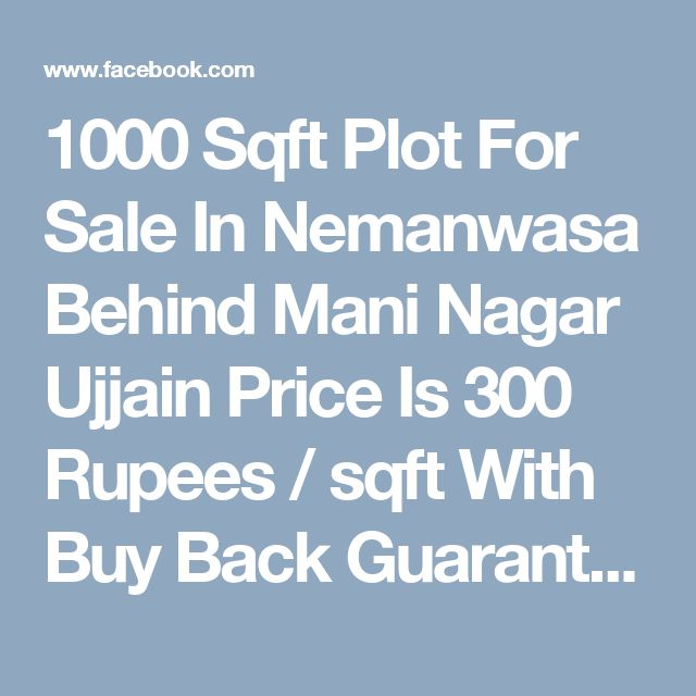 1000 Sqft Plot For Sale In Nemanwasa Behind Mani Nagar Ujjain  Price Is  300 Rupees / sqft With Buy Back Guarantee .Earn 6000 Rupee Of Rental Income Per Month