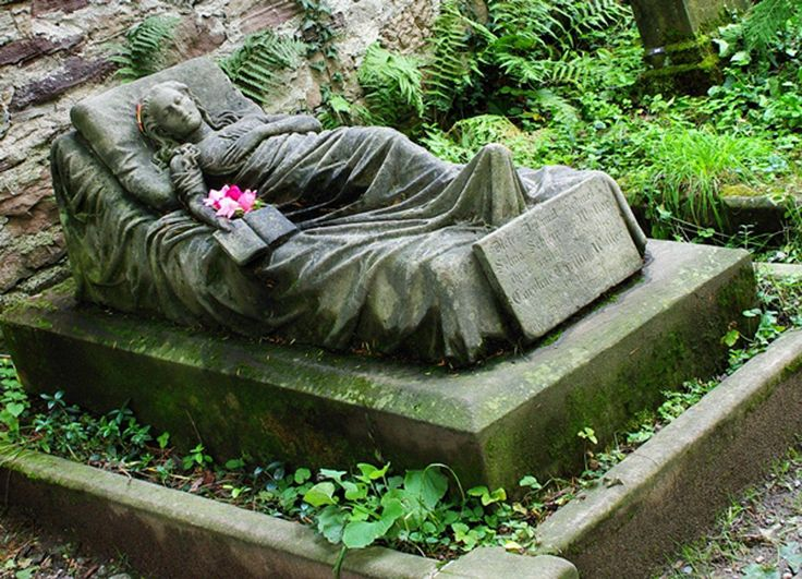 When Caroline Walter of Freiburg, Germany died at the age of 16, her sister Selma had a sculptor cast a life size sculpture for the gravestone. Every morning since Caroline's funeral, a fresh flower was found tucked in the crook of the arm, and still is to this day. Nobody knows who leaves these tributes. Caroline died in 1867. For 145 years someone has been leaving flowers. Devotion.