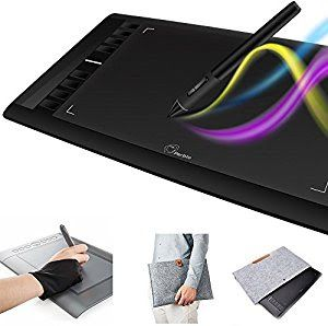 """Win Parblo A610 Graphic Drawing Tablet 10"""" x 6"""" 2048 Levels Pressure Pen Tablet with Wool Felt Liner Bag and Anti-fouling Glove"""
