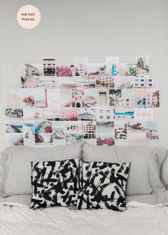 Dorm Decor Collage Art Pink Wall Art Room Decor Beach Prints