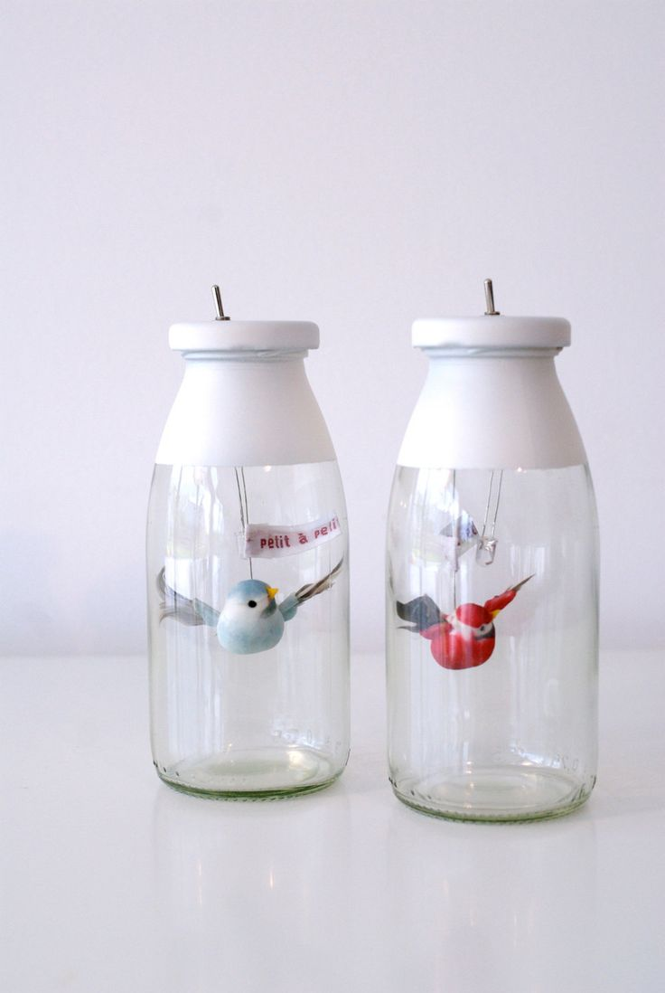 These little jars with colorful birds double as charming night lights.