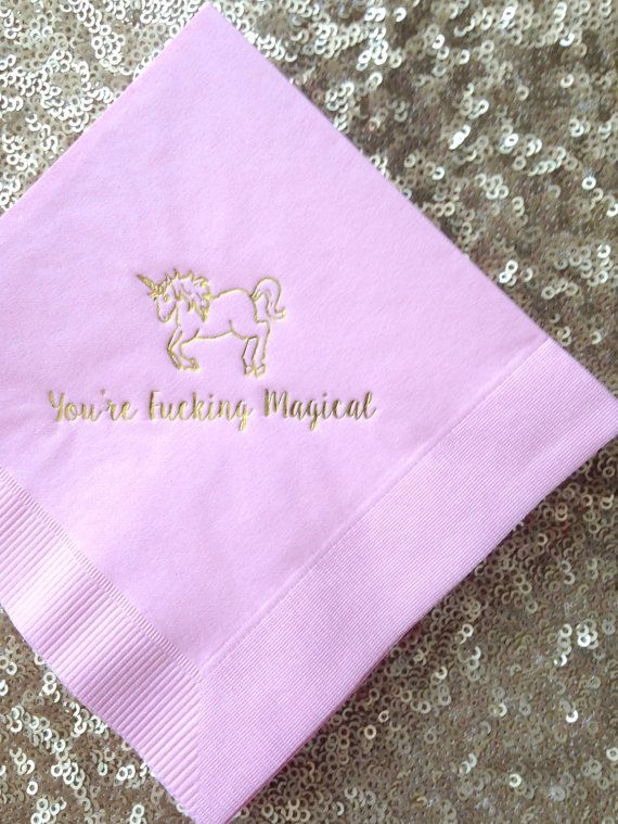 Magical UNICORN Gold Foil Cocktail Napkins  by VelvetCrownDesign
