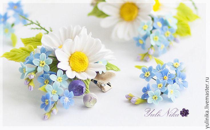 Купить В НАЛИЧИЕ!! Заколка с полевыми цветами. - голубой, ромашки, незабудки, полевые цветы