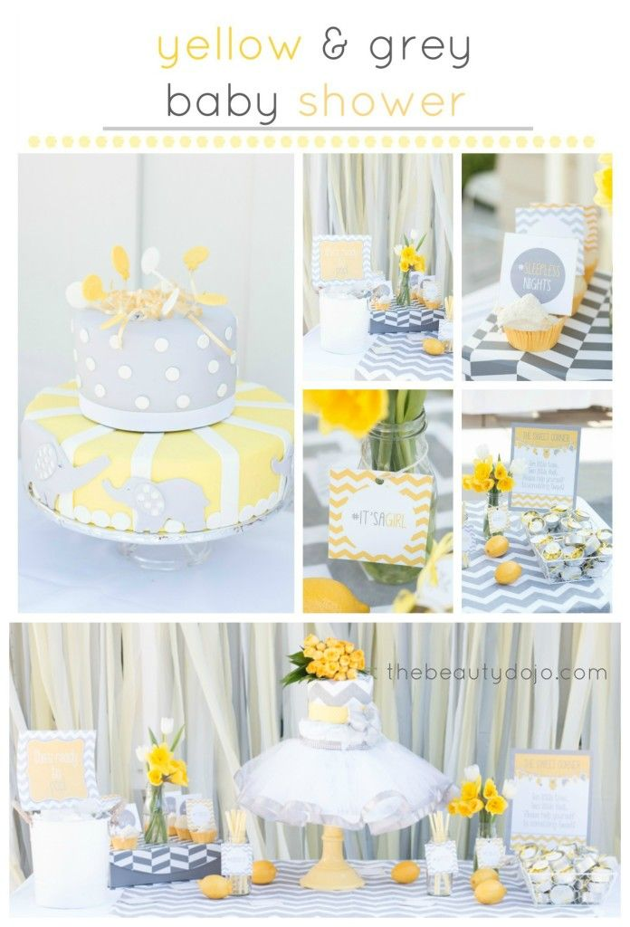 Yellow and Grey Chevron Baby Shower. Throw some chevron pattern, yellow flower and lemons on the table. Such an adorable diaper cake dress, and luv the combo of chevron and hashtags on the signs!