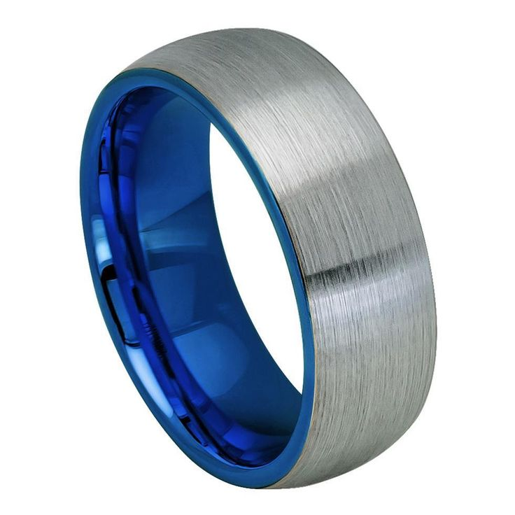 8mm Tungsten Ring Men Women Wedding Band Blue IP Plated Inside & Gun Metal- Same day shipping-Free shipping New condition