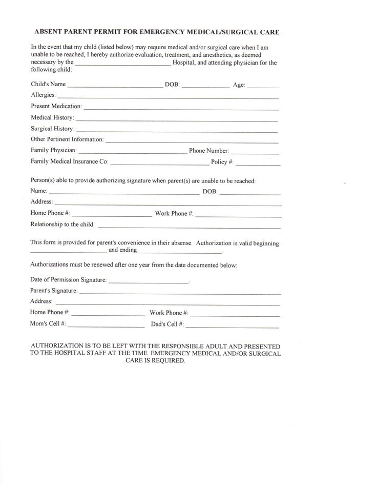 Permission Form Template First Aid Medical Consent Form Template