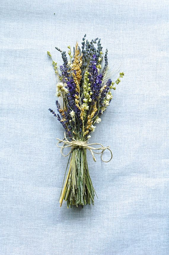 One Bridesmaid Bouquet Montana Lavender  Larkspur and Wheat for a Rustic Summer  or Fall Wedding. $14.25, via Etsy.