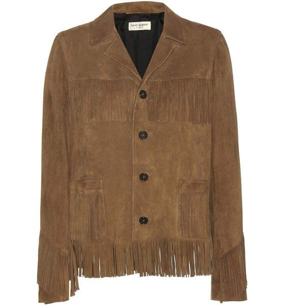 Saint Laurent Fringed Suede Jacket (8.300 BRL) ❤ liked on Polyvore featuring outerwear, jackets, saint laurent, brown, suede jacket, brown jacket, brown suede jackets, yves saint laurent and brown fringe jacket