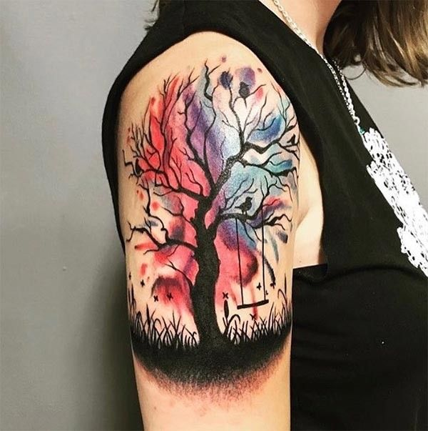 Finally It S Done Watercolor Tattoo Aquarell Colourful Tree