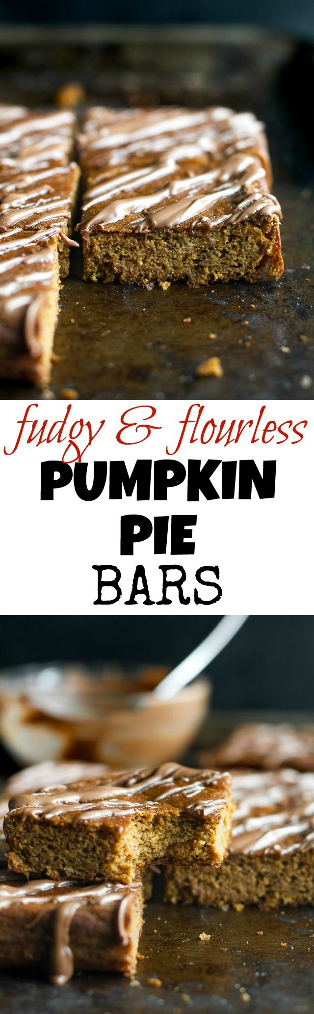 These flourless pumpkin pie bars are so tender and fudgy that you'd never know they're 100% healthy and made with NO flour, butter, oil, or refined sugar! | runningwithspoons.com
