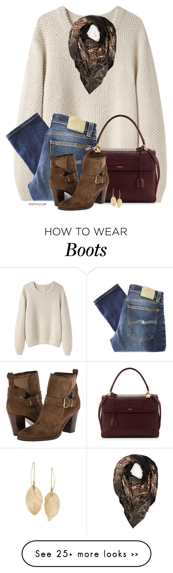 """""""Scarf & Boots"""" by houston555-396 on Polyvore featuring La Garçonne Moderne, Sophie Darling, Nudie Jeans Co., Yves Saint Laurent, Burberry and Lulu*s"""