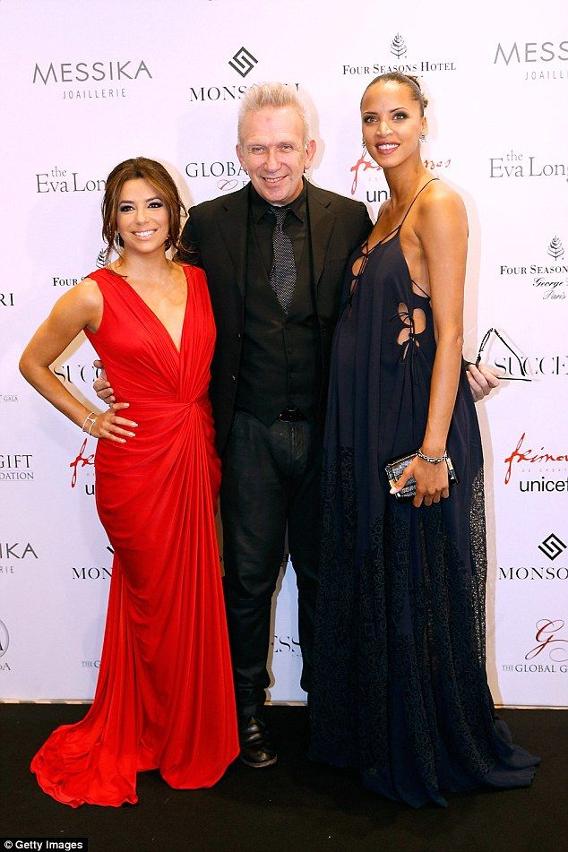 Famous friends: Eva caught up with fashion designer Jean-Paul Gaultier and pregnant actres...