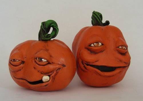 Halloween pumpkin sculpt with tutorial - POTTERY, CERAMICS, POLYMER CLAY