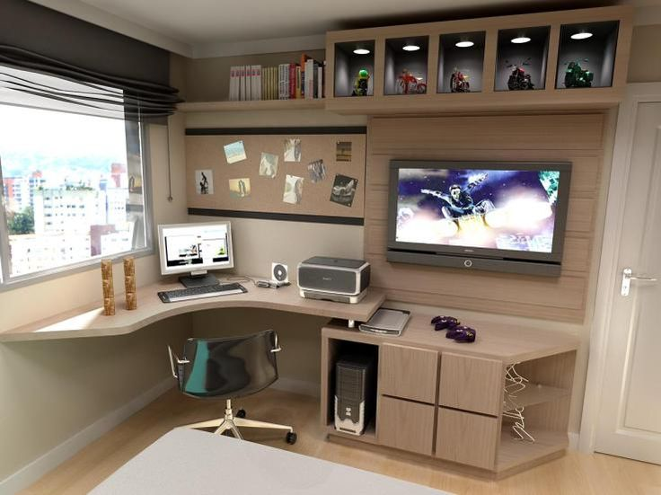 Home office (mveis pretos com partes amarelas) parede cinza Garage, ideas,  man