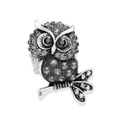 Vintage Silver Crystal Owl Statement Ring Stretchable