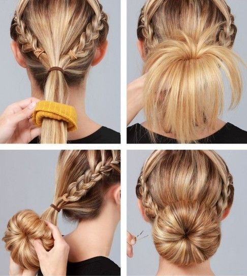 Hair Bun With Side Braid - pictures, photos, images
