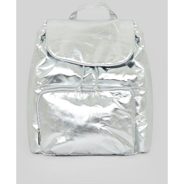 Silver Metallic Drawstring Backpack (£11) ❤ liked on Polyvore featuring bags, backpacks, silver, single strap backpack, drawstring bag, handle bag, draw string backpack and draw string bag