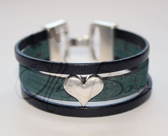 Black Leather and Blue  Cork Cuff bracelet with by OllieBooJewelry, $40.00 @Ollie Boo Jewelry By Jenn