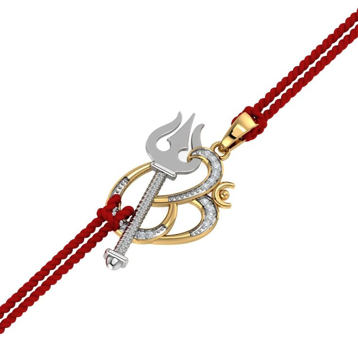 Om Trishul Rakhi Pendant - Featuring the magnificent Trishul of Lord Shiva, this Om pendant will look brilliant on bhai's wrist. What's best is that it can also be used as a pendant after raksha bandhan festival and therefore, this is a great gift for him. The gold rakhi pendant has been designed in dual tone gold. - See more at: https://www.kuberbox.com/om-trishul-rakhi-pendant.html#sthash.fwA5g0EH.dpuf